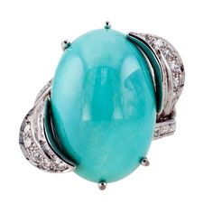 Turquoise & Diamond Cocktail Ring | From a unique collection of vintage cocktail rings at http://www.1stdibs.com/jewelry/rings/cocktail-rings/