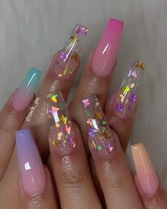 In search for some nail designs and ideas for your nails? Listed here is our listing of must-try coffin acrylic nails for cool women. Cute Acrylic Nail Designs, Best Acrylic Nails, Summer Acrylic Nails, Summer Nails, Clear Nail Designs, Colored Acrylic Nails, Pretty Nails For Summer, Bright Nail Designs, Purple Nail Designs