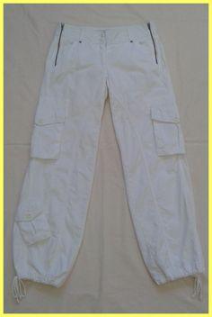BCBG MAXAZRIA WHITE COTTON CARGO PANTS Size 0 00 XXS XS P #BCBGMAXAZRIA #Cargo