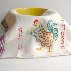 Vintage hand embroidered tea towel with Shopping Chicken