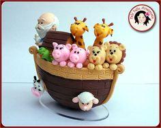 Topo de bolo arca de Noé em Biscuit