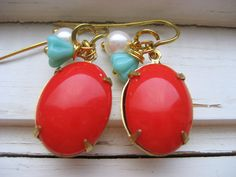 Madrid. Tomato Red Vintage Cab Aqua Glass Flower and Creamy Pearl Earring 14k Gold Ear Wires