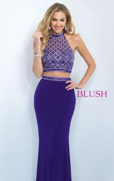Beaded Open Back Gown by Blush by Alexia 11073