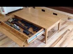Bookcase Plans With Hidden Compartments - WoodWorking Projects & Plans Coffee Table Plans, Diy Coffee Table, Coffee Table With Storage, Hidden Gun Cabinets, Hidden Gun Storage, Weapon Storage, Bookcase Plans, Hidden Compartments, Secret Compartment