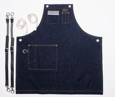 Delantal de pecho dos bolsillos Denim Armada por delantal