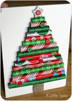 Adorable Christmas decor is as easy as pie with this simple toturial for a Wrapping Paper Christmas tree. Craft up some colorful holiday fun in minutes!