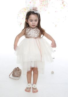 3bbde07ab7fc Flower Girl Dress in Ivory Tulle with Bronze Sequin Bodice