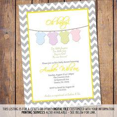Chevron Bodysuit Baby shower Invitation oh by JoyPribishDesigns, $15.00