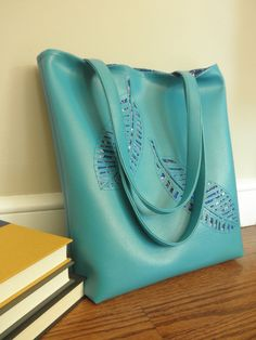 Turquoise Vinyl Tote with Cutout Feather Detail by JulieBrayBags, $58.00