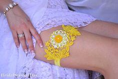 Yellow Wedding Accessories Lace Wedding Garter by BridalSpecialDay, €22.00