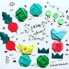 #はるがきた にわはおおいそがし #折り紙 #イラスト #コトリ #ラディッシュ #キャベツ #たねまき #cabbage #garden #illustration #origami #bird #radish #springhascome