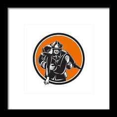 Fireman Firefighter Saving Girl Circle Woodcut Framed Print by Aloysius Patrimonio.   Illustration of a fireman fire fighter emergency worker carrying saving girl running viewed from front set inside circle done in retro woodcut style. #illustration #FiremanFirefighterSavingGirl