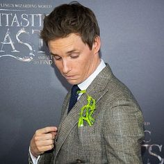 So the little bowtruckle that Eddie was seen with at the premiere was made by @ragingstormcosplay - he made it for Eddie and gave it to him at the event. He was clearly pretty taken by his new friend who appears in numerous photos! Great job  #eddieredmayne #jkrowling #newt #fantasticbeastsandwheretofindthem #fantasticbeasts #bowtruckle #amazingeddieredmayne