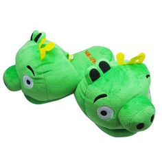"Angry Bird Green Pig Kids Size Plush Slipper - universal fit up to 8"" long"