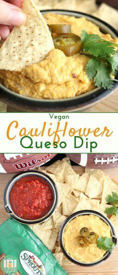 A creamy and flavorful vegan alternative to the classic game day dip, queso! This Cauliflower Queso Dip is sure to win over the crowd at your next party. #ad #vegan #dip #Mexican