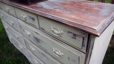 Annie Sloan Chalk Paint Ochre on base then sanded and distressed; the top is ASCP Provence and BM dark gray