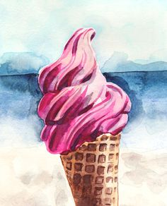 Pink Ice Cream at the Beach Giclee Print of by LauraRowStudio