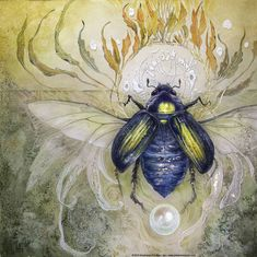 #scarab #insectart #watercolor #painting #goldleaf #beautifulbizarre #lifeanddeath