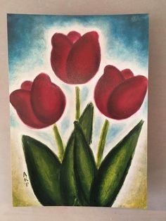 Red Tulip Garden  Trio Art Print Size 5x7 and Up