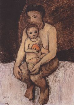 paula modersohn-becker(1876-1907), seated mother with child on her lap, 1906…