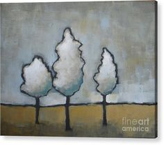 Landscape Acrylic Print featuring the painting White Trio by Vesna Antic