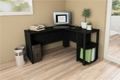 L Shaped Computer Corner Desk Black Home Executive Modern Furniture
