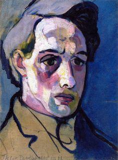 lawrenceleemagnuson:Theo van Doesburg (Netherlands 1883-1931)  Self-portrait (1911)oil on canvas 39.8 x 29.6cm