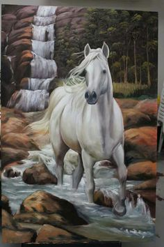 Looks like this beauty is fixing to step right out of Beautiful Horse Pictures, Beautiful Arabian Horses, Pretty Horses, Horse Drawings, Animal Drawings, Scratchboard Art, Horse Posters, Tier Fotos, White Horses