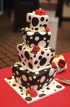whimsical polka-dotted wedding cake