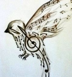 Beautiful song bird tattoo