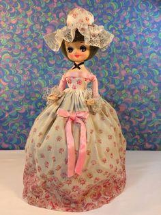 "Vintage Bradley Doll 12"" Big Eyes Korea Pink Floral Dress Crinoline Lady Mop Top | eBay"