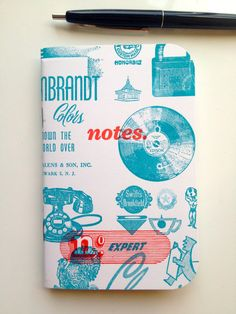 Letterpress Vintage Print Block Pocket Notebook by Font Love Studio