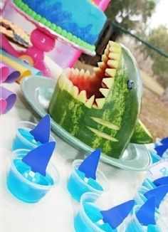 Ideas for an Epic Beach Party with Food & Drinks-Pics-2014 - Beach Party Ideas For Decoration : Shark Head out Watermelon – JAWS THEME