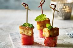 These quick and easy vegetarian canapés are a tasty mix of lightly spiced feta and refreshing watermelon. See more Canapès recipes at Tesco Real Food. homemade christmas gifts, christmas presents for guys, christmas presents for boyfriends Easy Canapes, Canapes Recipes, Appetizers, Savoury Recipes, Pork Recipes, Veggie Recipes, Salad Recipes, Christmas Canapes, Christmas Recipes