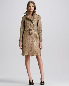 B24T5 Burberry Prorsum Laser-Cut Lace Leather Trench Coat, Golden Nude