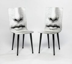 Pair of Fornasetti 'Mouth' chairs, lacquered and screen printed in black and white, with tapered tubular metal legs Unique Furniture, Painted Furniture, Furniture Design, Bijoux Design, Piero Fornasetti, Mid-century Modern, Contemporary, Milan Design, Cool Chairs