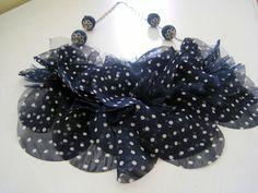 Navy Polka Dot and Denim Bib Necklace by HomespunGossamer on Etsy, $50.00