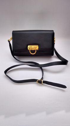 FERRAGAMO Bag. Salvatore Ferragamo Vintage Gancini Navy   Dark Blue Leather  Shoulder   Crossbody Bag 38e7e1db39