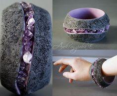 Stunning polymer clay and amethyst bangle. http://www.livemaster.ru/item/924242-ukrasheniya-braslet-ametistovyj