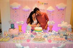 Roshana Baber Cloud Party, Star Party, Baby Shower Deco, Baby Shower Themes, Baby Shower Princess, Princess Party, Sweet Station, Candy Table, Rainbow Baby