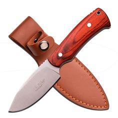 "Elk Ridge 7.5"" Satin Fixed Blade-Light Brwn Pakkawood Handle"