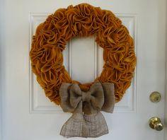 Felt and Burlap Ruffle Wreath (22 inch). $49.00, via Etsy.   Thanksgiving Wreath!