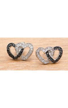 Montana Silversmiths® Double Heart Black & Clear Crystal Earring