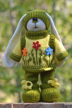 Spring Bunny Doll Crochet Rabbit Green Toy Stuffed Artist Handmade Soft 12in #Unbranded