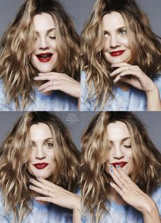 This lip color We adore Drew Barrymore, and her beautiful hair color. For this color, ask your stylist for Aloxxi Hair Color Personality MONA LISA'S SMILE® Drew Barrymore Haare, Drew Barrymore Makeup, Pretty People, Beautiful People, Beautiful Women, Foto Portrait, Look 2015, Mein Style, Dark Blonde