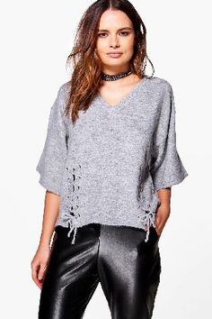 #boohoo Lace Up Detail Jumper - grey CZZ96141 #Aimee Lace Up Detail Jumper - grey
