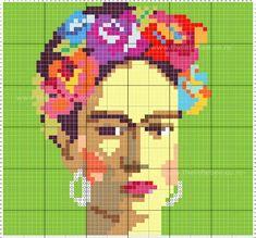 Billedresultat for cross stitch frida kahlo Cross Stitch Art, Beaded Cross Stitch, Modern Cross Stitch, Cross Stitching, Cross Stitch Patterns, Art Au Crochet, Crochet Cross, Tapestry Crochet, Diy Embroidery