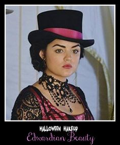 lucy hale pretty little liars in Edwardian costume for #halloween special
