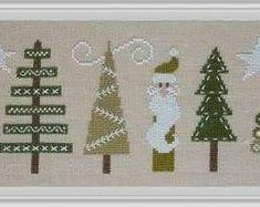 "JARDIN PRIVE ""Trouvez L'Intrus"" | Counted Cross Stitch Pattern | Christmas, Santa, Intruder, Trees, Swirls"