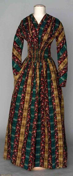 COTTON PRINT DAY DRESS, 1840s